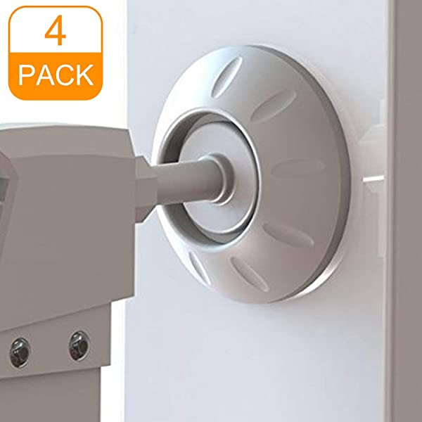 Wall Guard for Protect Door Babies /& Pets Safety Wall Surface Stair Amteker 4 Pack Gate Wall Protector White