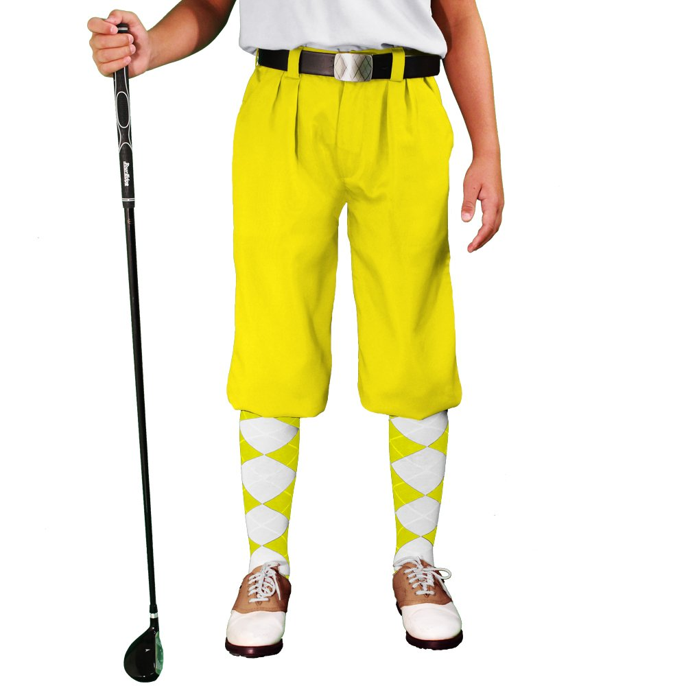 Golf Knickers - 'Par 3' Youth Yellow Microfiber - M 10-12 (26'')