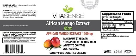 VitaSense Extracto de Mango Africano 1200 mg MAX - 60 Capsuas – Pérdida de peso and Quemador de Grasa by RIVENBERT: Amazon.es: Salud y cuidado personal