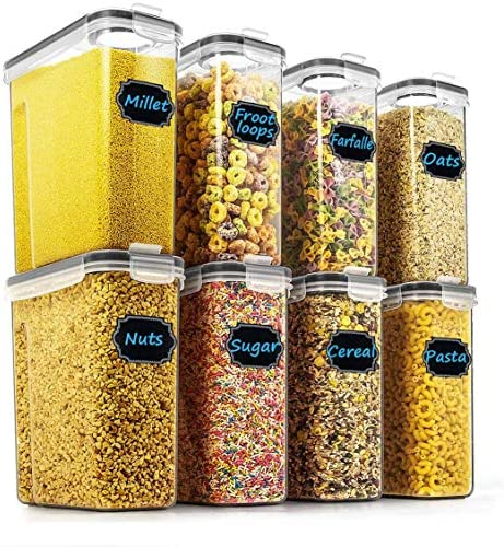 Cereal & Dry Food Storage Containers – Wildone Airtight Cereal Storage Containers Set of 8 [2.5L / 85.4oz] for Sugar, Flour, Snack, Baking Supplies, Leak-Proof with Black Locking Lids