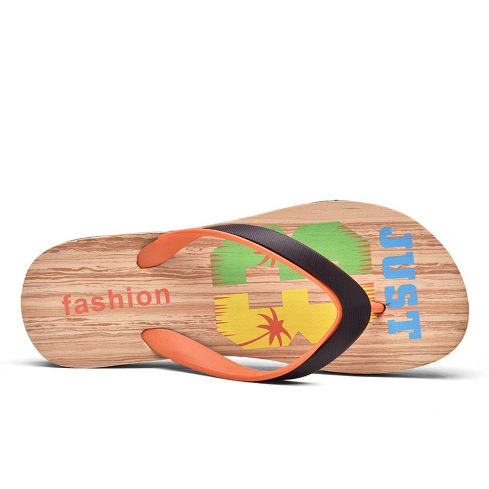 Sunny&Baby Chancletas Clásicas de Las Sandalias de la Playa de Las Chancletas de la Correa de los Hombres Resistente al Desgaste (Color : Brown Orange, Tamaño : 43EU) 43EU|Brown Orange
