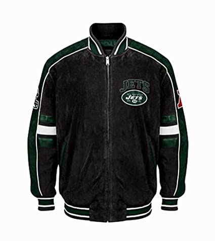 outlet store b1508 ee4ef Amazon.com : New York Jets Suede Leather Jacket NFL NY Jets ...