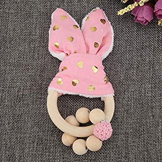 Qioniky Colorful Beads with Rabbit Ear, Natural Wood Wooden Comfortable with Colorful Beads Hanging Decor for Baby, for Kids Baby(Pink)
