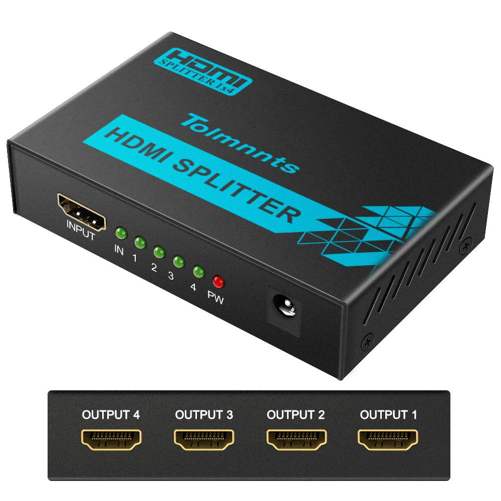 Tolmnnts HDMI Splitter 1 In 4 Out Powered by AC Adapter, Supports 4K@30Hz 3D Full HD1080P, Compatible with Xbox PS3 PS4 Fire Stick Roku Blu-Ray Player HDTV - 1 Input To 4 Outputs by Tolmnnts