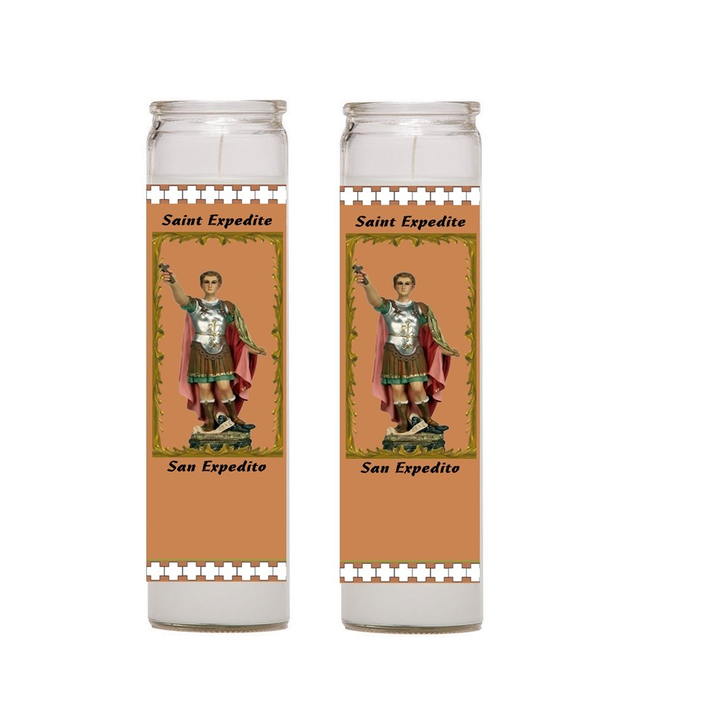 Saint Expedite San Expedito Set of 2 or 4 Candles Set de 2 o 4 Veladoras Prayer in English and Spanish Oracion en Ingles y Espanol (4)
