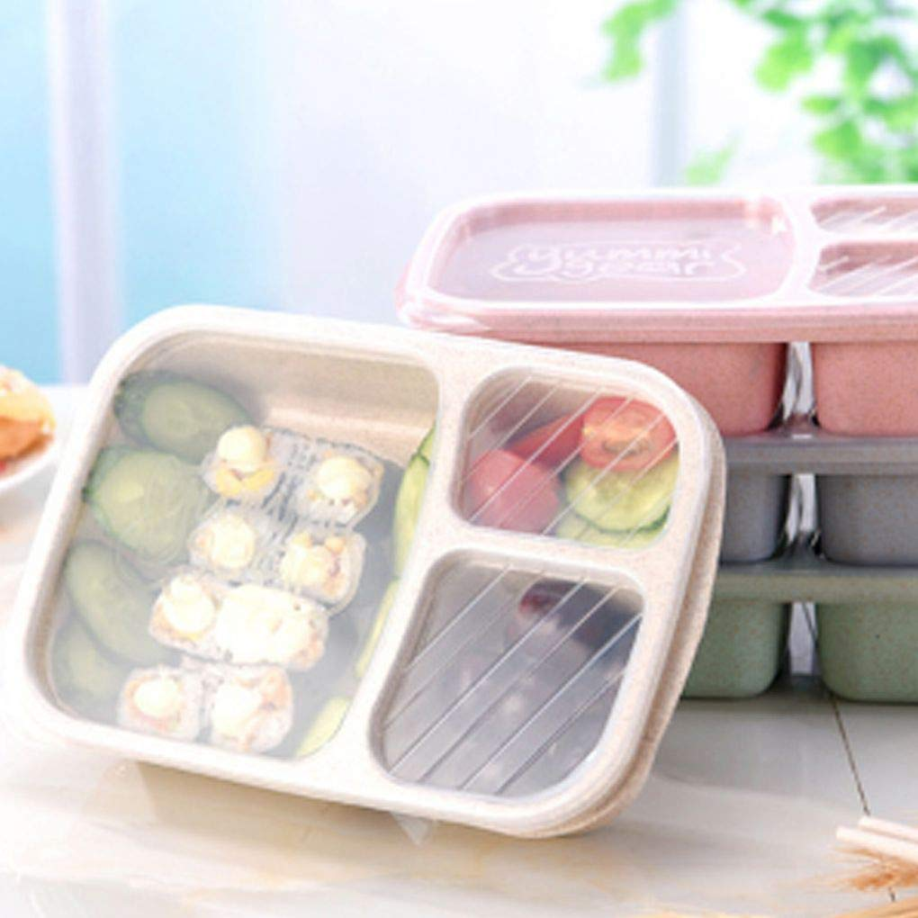 Lorsoul Paja de Trigo Bento Box Lunch recipientes port/átiles ecol/ógico Estudiantes de Almacenamiento de Alimentos de contenedores