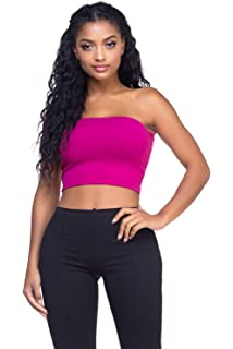 7400e79180f Sugar Lips Seamless Crop Tube Top-Army at Amazon Women s Clothing store