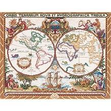 Janlynn Cross Stitch Kit, 15-Inch by 18-Inch, Olde World Map