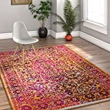 Alhambra Modern Vintage Bright Floral Traditional Medallion Fuscia Purple Yellow Gold 8x10 (7'10'' x 9'10'') Area Rug
