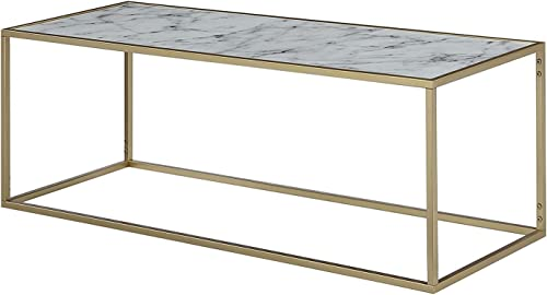 Convenience Concepts Gold Coast Faux Marble Rectangle Coffee Table