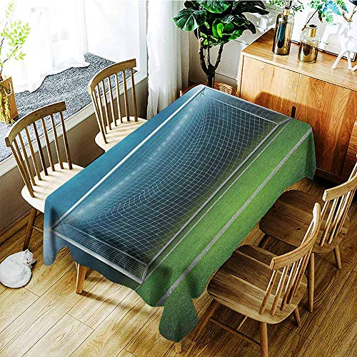 XXANS Elastic Tablecloth Rectangular,Soccer,Soccer Goal Post Sports Area Winner Loser Line Floodlit Best Team Finals Game Theme,Dinner Picnic Table Cloth Home Decoration,W60X102L Green Blue
