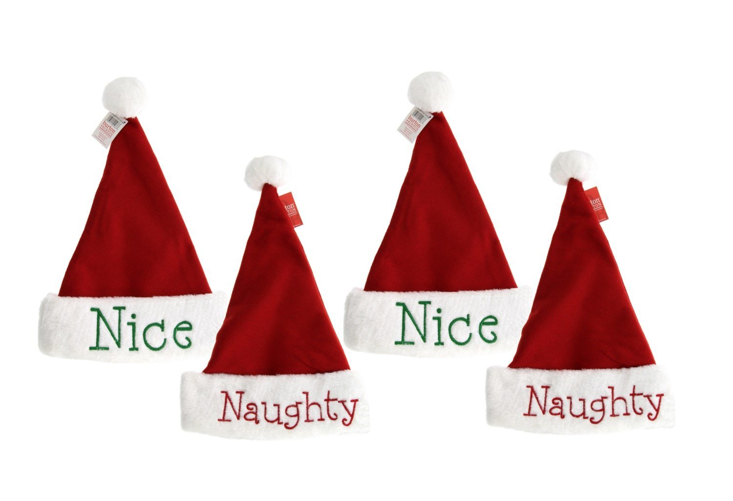 Burton & Burton Naughty or Nice Santa Hats, 4pk, Festive Holiday Christmas Hats with Hand Stitched Naughty in Red on one side and Nice in Green on the other, Reversible (4 Hats)