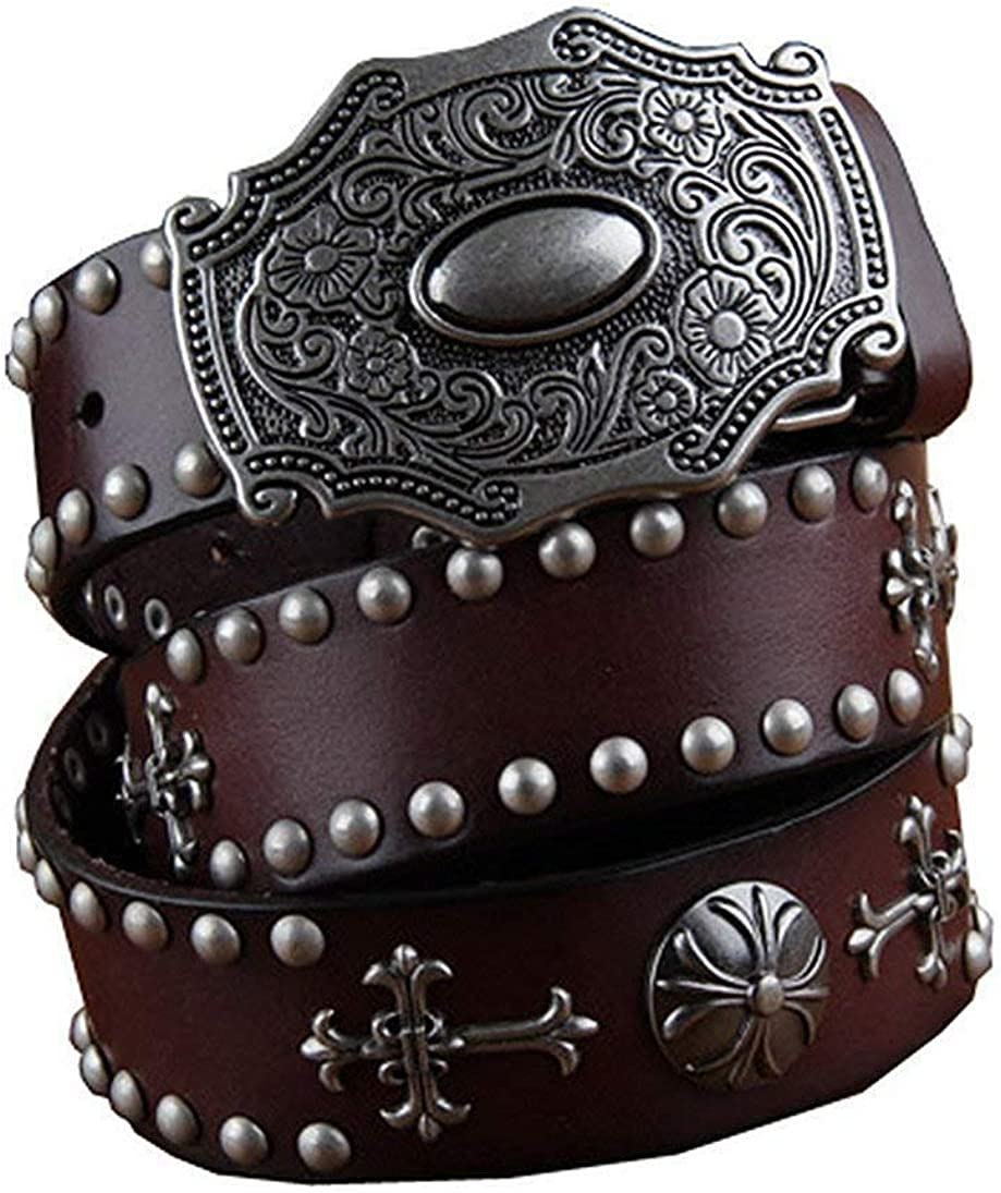LVLUOYE Mens belt Retro Real Leather Cowboy 38Mm With Studded Leather Waist
