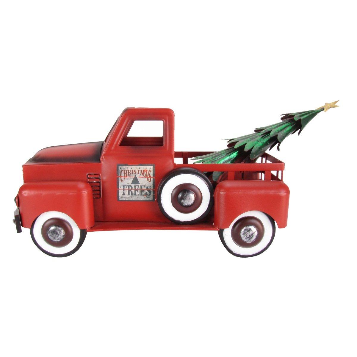 TreasureGurus, LLC Red Metal Christmas Tree Farm Delivery Pickup Truck Toy Decoration by TreasureGurus, LLC