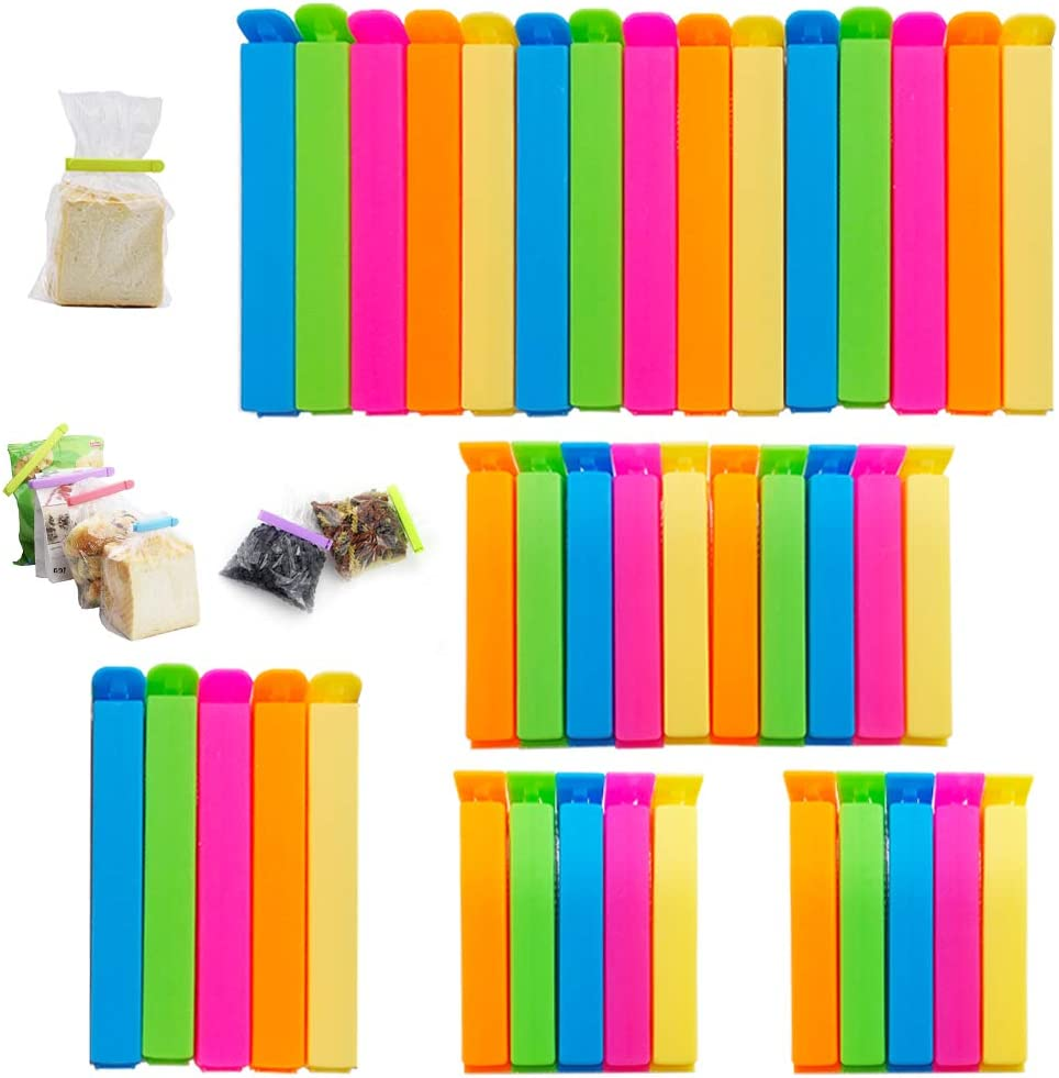 40PCS Plastic Sealing Clips,Food Clip,Colorful Sealing Clip for Snack,Chip Bags,Kitchen Storage,2 Sizes(2.7inch and 4.3inch)