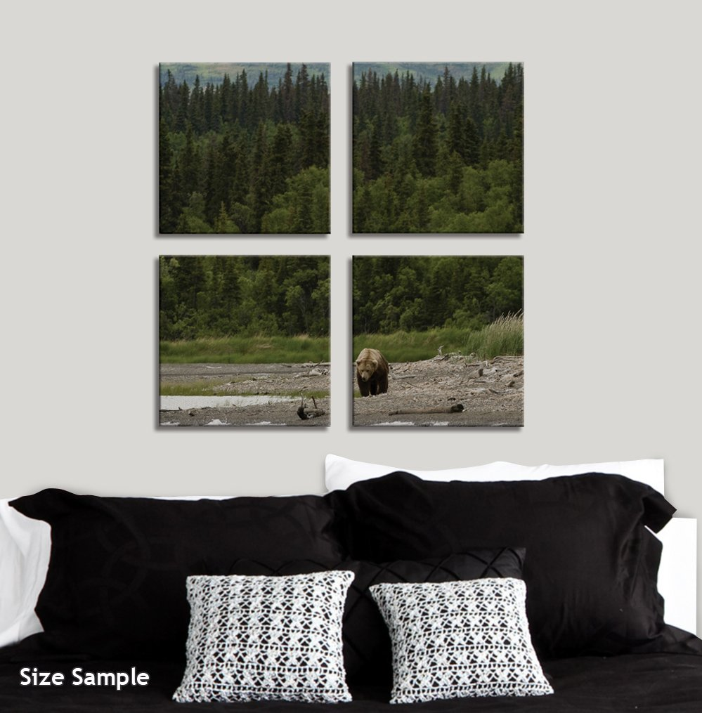 JP London 4 Panels 14in 4 Huge Gallery Wrap Canvas Wall Art Finger Lakes Adirondack Mountain Fall At Overall 28in QDCNV2420