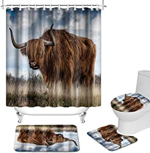 OuElegent 4Pcs Highland Cow Shower Curtain Sets Western Brown Yak Walking on Grassland Bathroom Decor Wildlife Animal Rustic Farmhouse Bath Curtain with Non-Slip Rug Toilet Lid Cover and Bath Mat