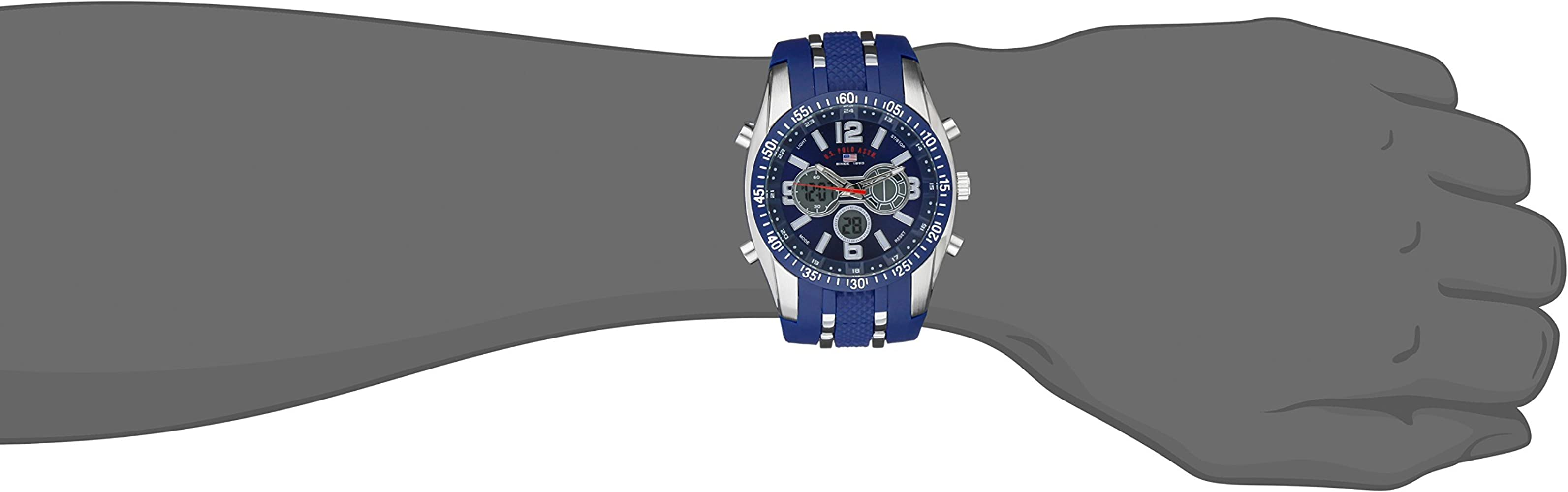 US Polo Assn Sport Men US9284 Blue and SilverTone AnalogDigital Chronograph Watch
