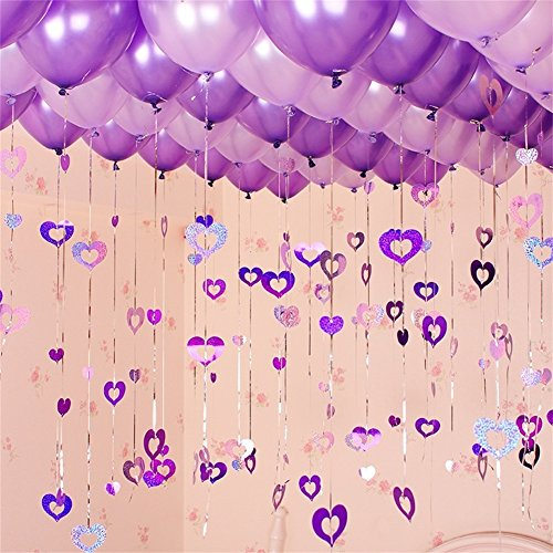 100 Pack Romantic Purple Balloons, Wedding Party Supplies, 12
