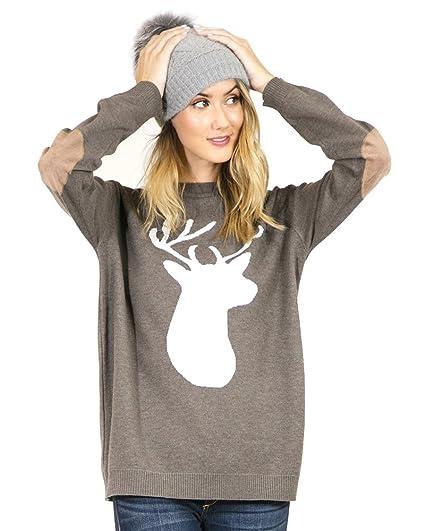 Preppy Doll Womens Cute Reindeer Print Sweatshirt Or Sweater With