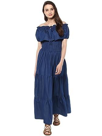 22662b735e1 StyleStone (3212PeasantMaxi Women's Denim Peasant Styled Maxi Dress ...