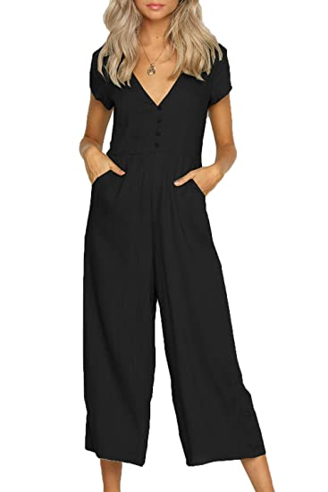 b8ecd7948939 Suvimuga Womens Summer Jumpsuits V-Neck Short Sleeve Wide Leg Pants Rompers  Black S
