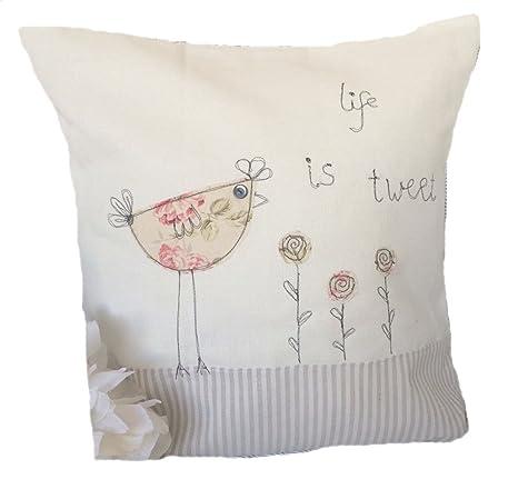 Hecho a mano cojín, la vida es Tweet para máquina de coser y ...