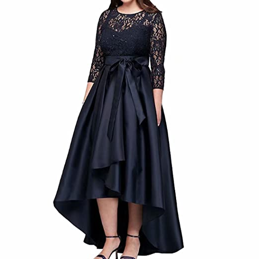 DingDingMail Black Plus Size High Low Prom Dresses with Half Sleeves ...