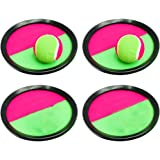 Toyvian 6pcs Toss and Catch Ball Game Set self-Stick Paddles Balls Toy Game for Outdoor Activities 19cm (4pcs Black…