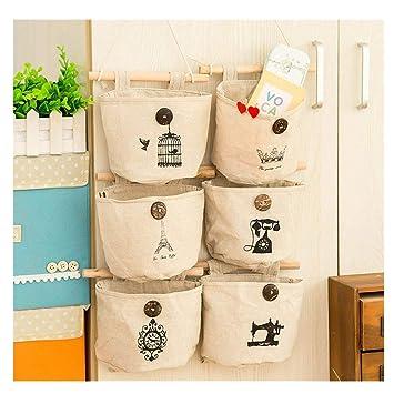 Organizador de pared con 6 bolsillos de tela de lino y algodón, estilo