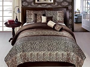 JBFF Bed in Bag Safari Zebra Giraffe Print, Micro Fur Comforter Set, Queen, Brown