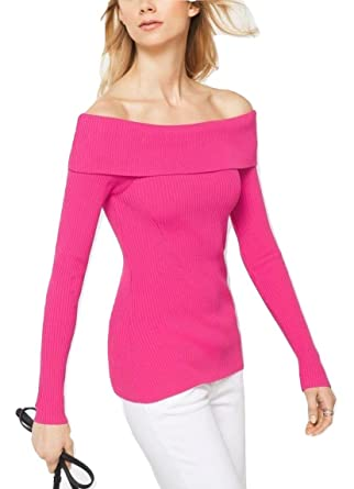 dce477fa80 MICHAEL Michael Kors Ribbed Knit Off Shoulder Top Sweater (Electric Pink