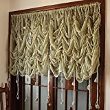 FADFAY Beautiful Lace Sheer Balloon Curtains Luxury Green Embroidered Sheer Curtains,1 Panel Window Tulle-Green Review