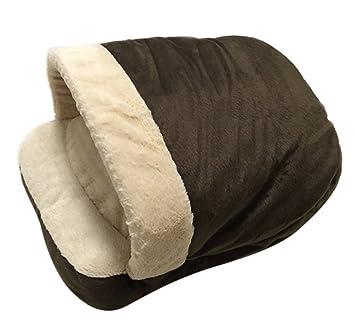 Icegrey Cama para Perro y Gatos Acolchada Casa Mascotas Cama Saco de Dormir Cojin Cálido para Cachorro Perrito Gato 54x40x30 cm Marrón: Amazon.es: Hogar