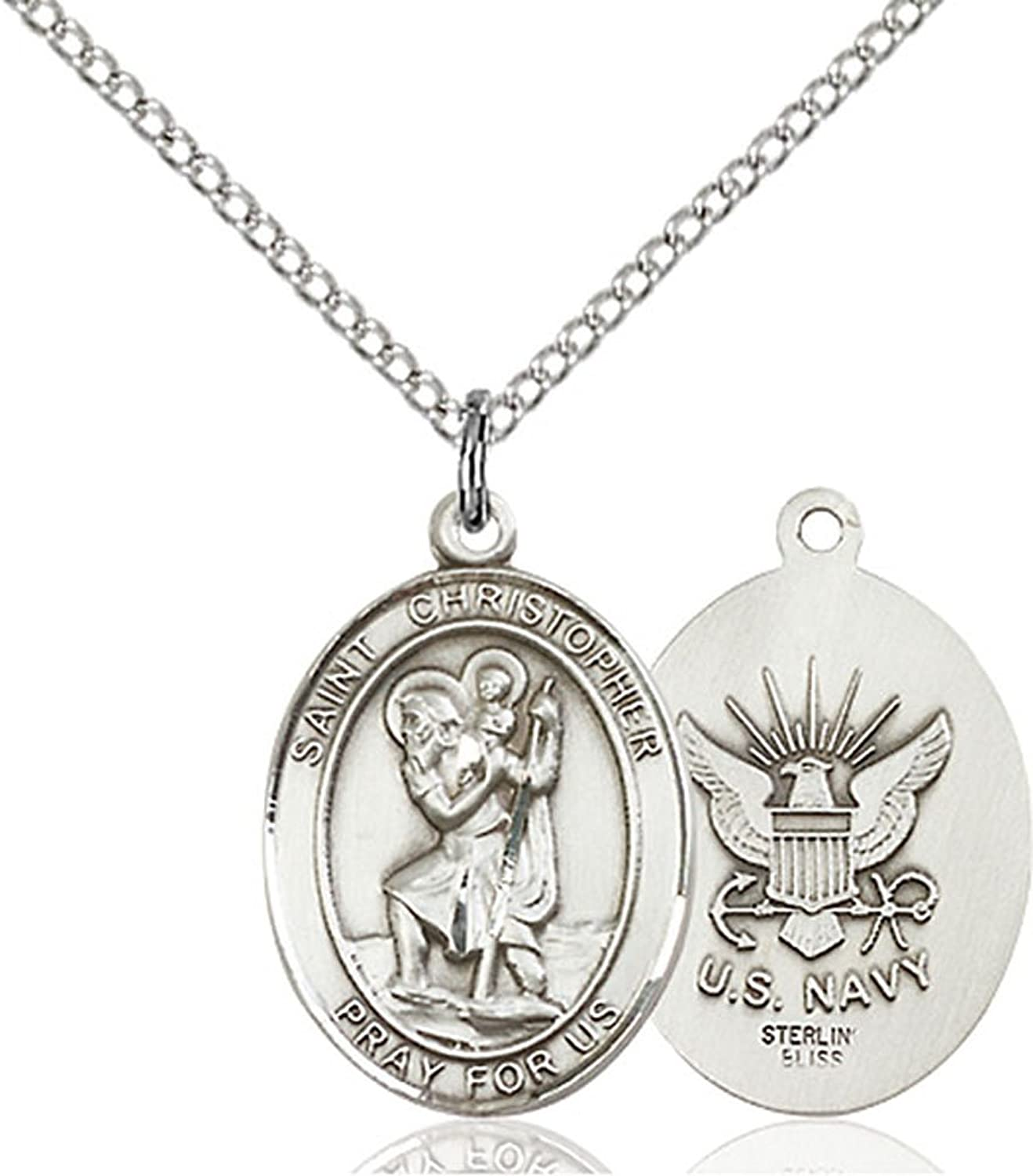 """Sterling Silver St. Christopher / Navy Pendant with 18"""" Stainless Steel Lite Curb Chain. Patron Saint of Travelers/Motorists"""