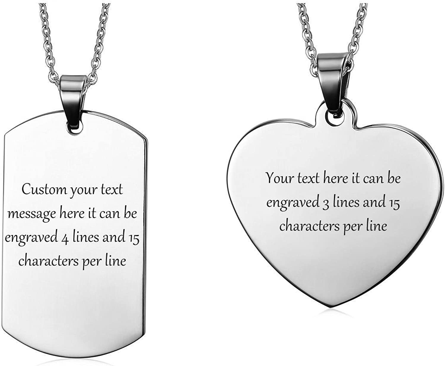 VNOX Personlized Couple Jewelry Stainless Steel Dog Tag/&Heart Shape Tag Keychain Keyring//Necklace for Him Her