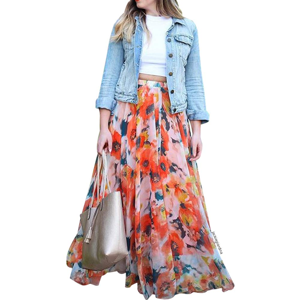 Chicwish Women's Orange Floral Blossom Watercolor Frill Slip Maxi Chiffon Skirt by Chicwish