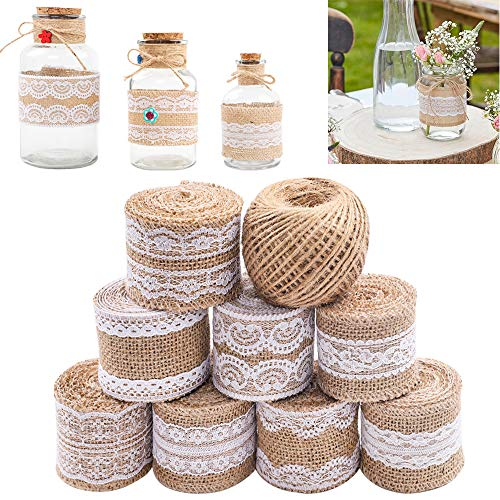 SGHUO 8pcs Burlap Ribbon Lace Roll with 164 Feet Jute Twine 630 Inches Wired Burlap Ribbon for Wedding Decorations DIY Handmade Crafts