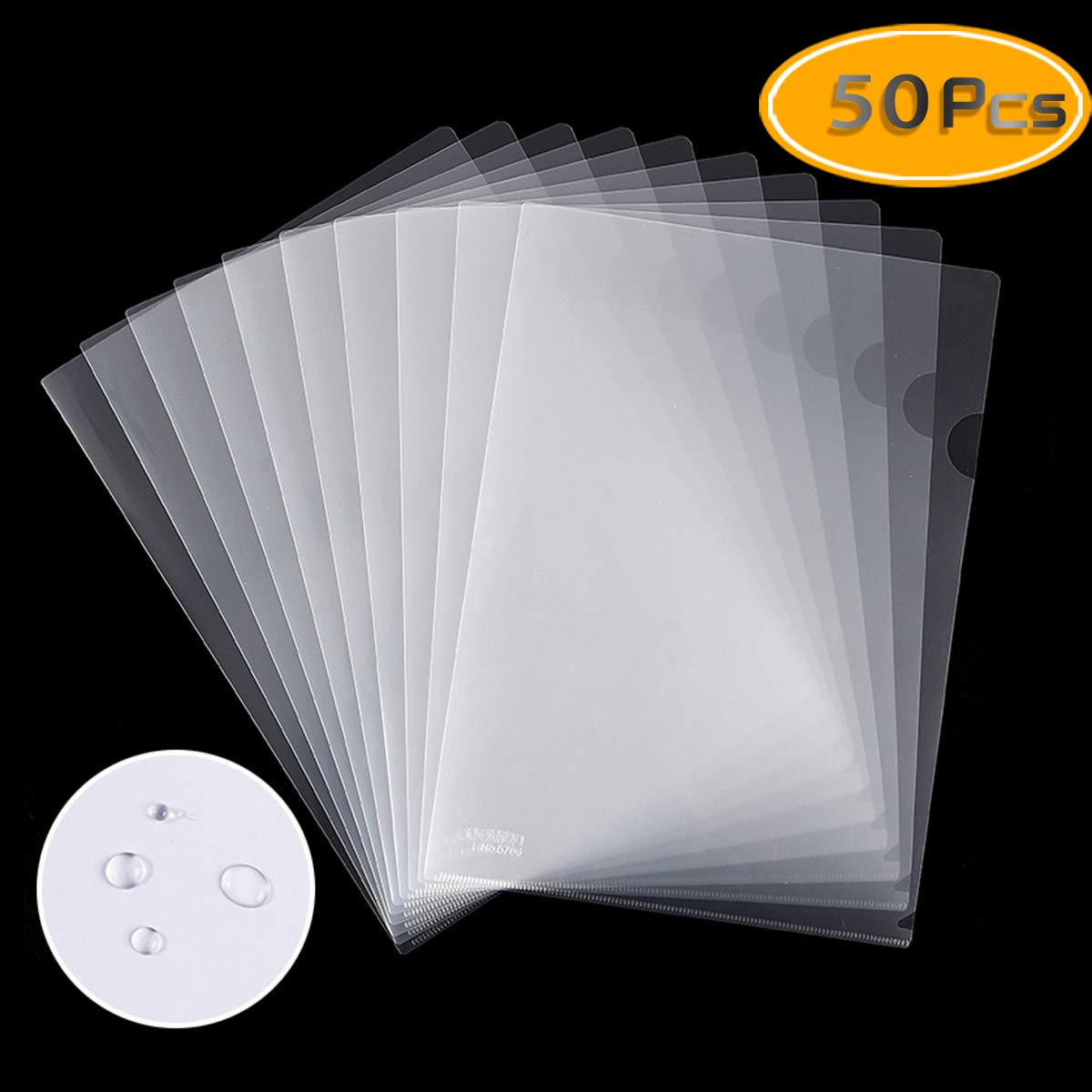 Fyess 50PCS Clear Plastic Document Folders, US Letter/ A4 Size 14C (1.4mm) Thick Clear Transparent Document Folders Copy Safe Project Pockets Lightweight Plastic Paper Jacket Sleeve Folders by Fyess