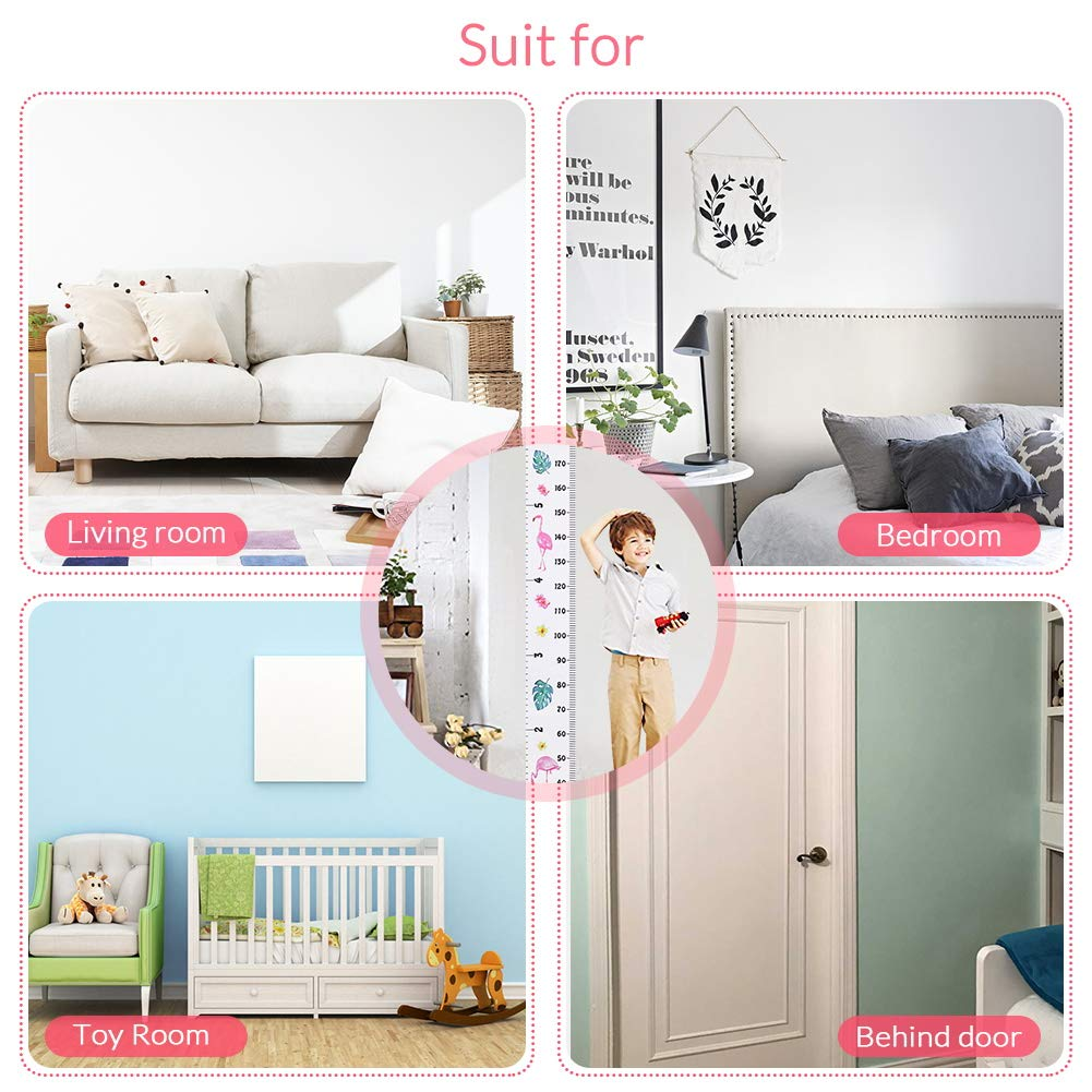 Cute Hanging Wall Ruler Baby Growth Chart for Child Pink Accmor Growth Chart for Kids Wood Frame Fabric Canvas Kids Growth Chart Height Measurement Ruler with Removable Hook