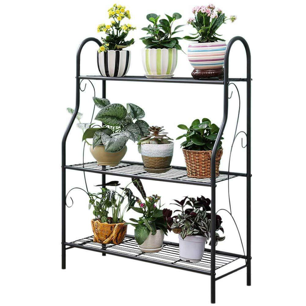 JOANNA'S HOME 3 Tier Metal Plant Stand Potted Flower Stand Indoor Outdoor Home Storage Book Organizer Shoes Shelf 27.68x9.57x32.7 Inch - Black by JOANNA'S HOME