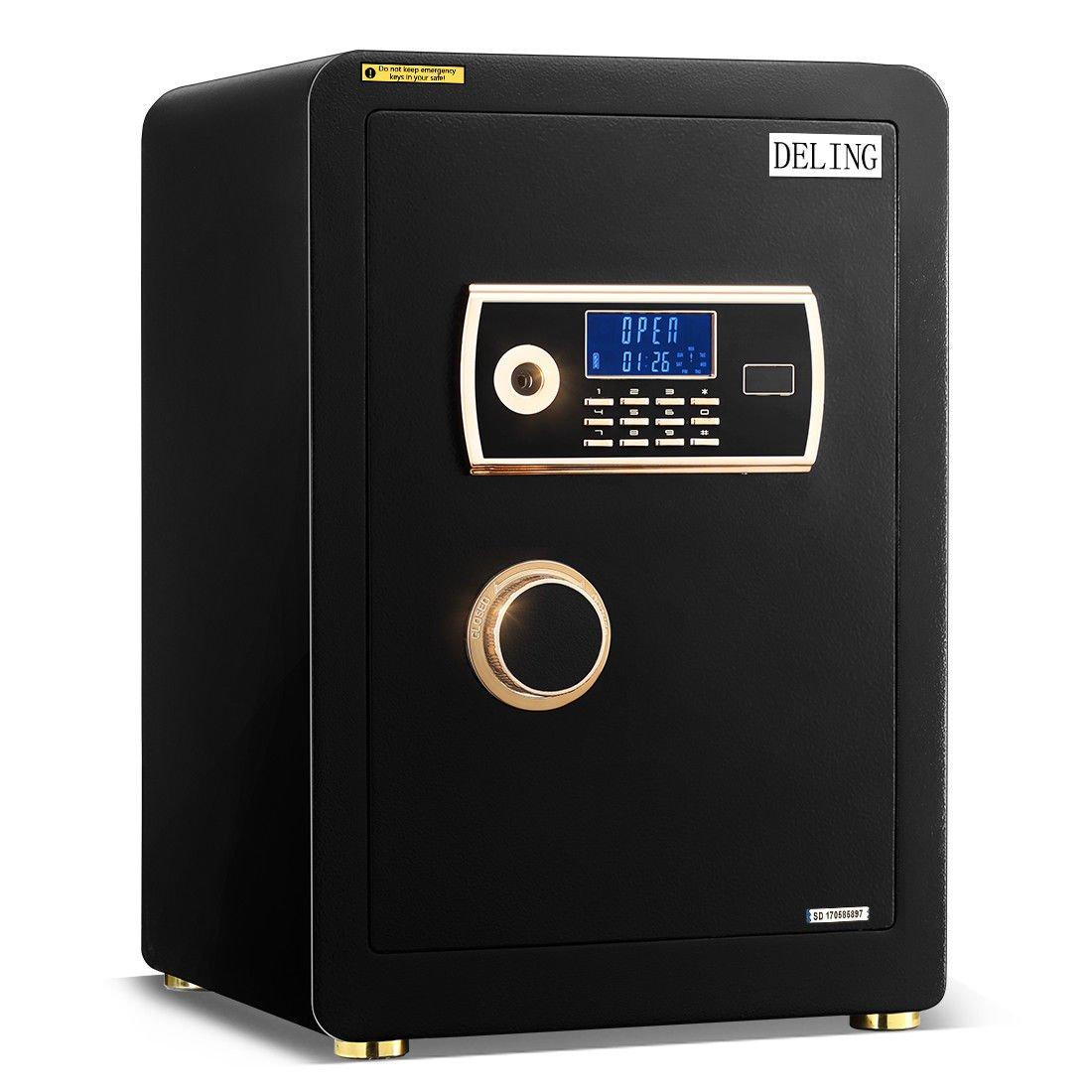 Largeソリッドスチールロックボックスセーフ電子セキュリティデジタル表示キーパッドガンジュエリーMoneyホームオフィス B07CRM7QKW