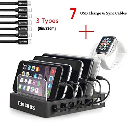 Charging Station for Multiple Devices,COSOOS USB Charger Station with 5  Short lPhone Charger Cables,1 Type-C,1 Micro Cable,lWatch Stand,6-Port USB