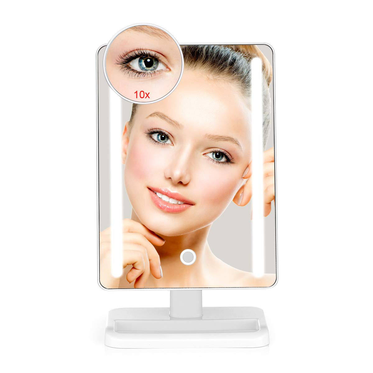 Large Adjustable Lighted Makeup Vanity Mirror with 24 Natural Bright Led Lights, 10x Magnified Mirror, 180 Rotation 12 Inch Touch Screen Dimming Dual Power Supply, Led Desk Cosmetic Mirror, YODA