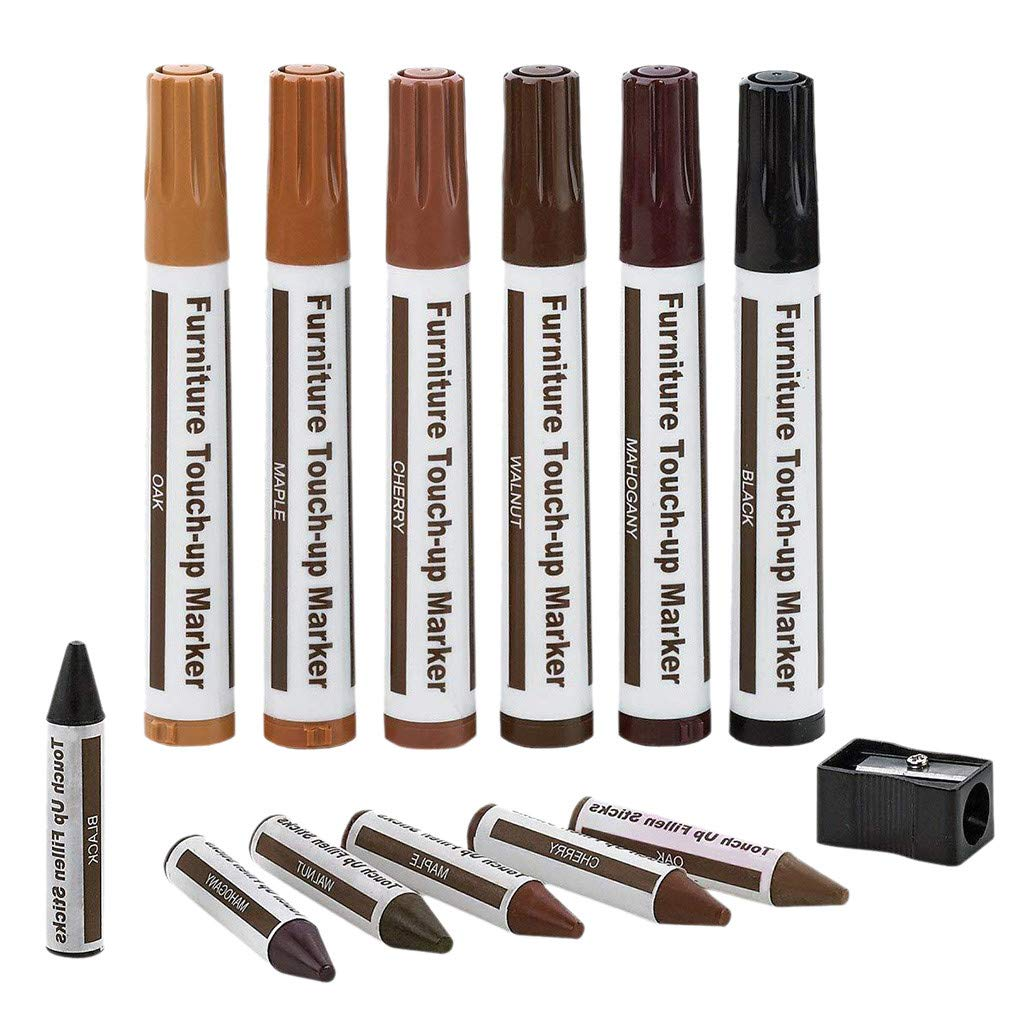 Furniture Repair Kit Wood Markers - Set of 13 - VECDUO Markers and Wax Sticks with Sharpener Kit for Stains, Scratches, Wood Floors, Tables, Desks, Carpenters, Bedposts by VECDUO