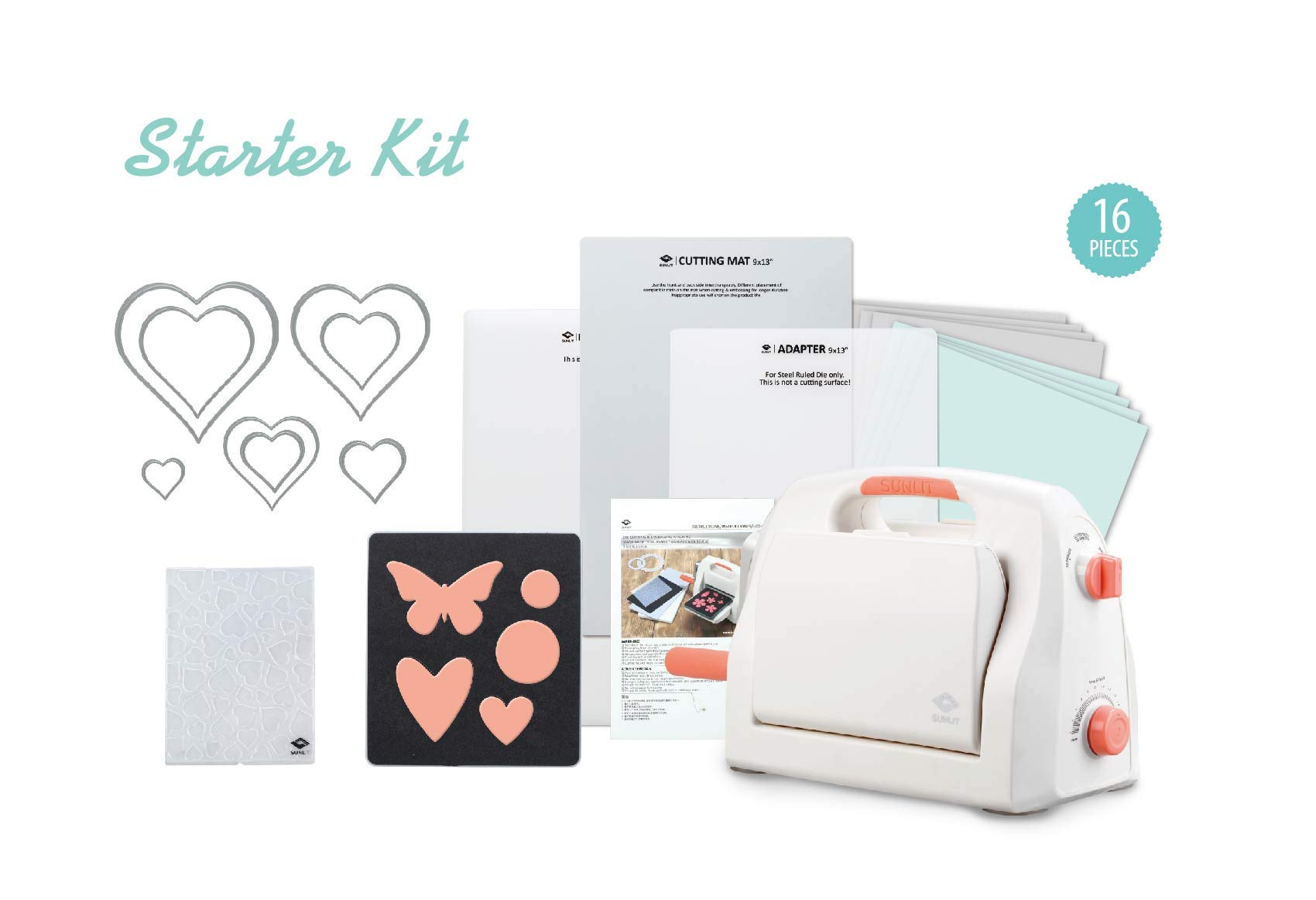 Bira Craft Adjustable Die Cutting & Embossing Machine Starter KIT, 9'' Opening, Paper, Fabric and Other Materials.