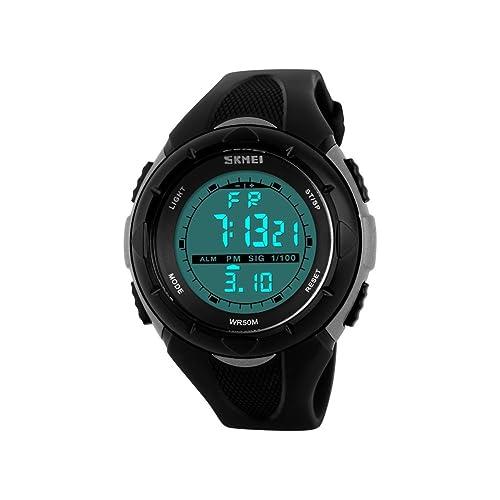 iWatch Mujer Chica Reloj de pulsera 50 m resistente al agua banda de silicona digital LED Alarma Calendario reloj reloj deportivo cronómetro gris negro: ...