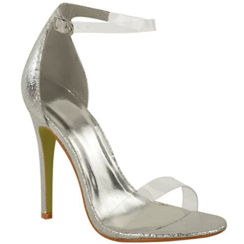 066e0d69f4 Fashion Thirsty Womens High Heel Barely There Clear Perspex Sandals Strappy  Stiletto Size