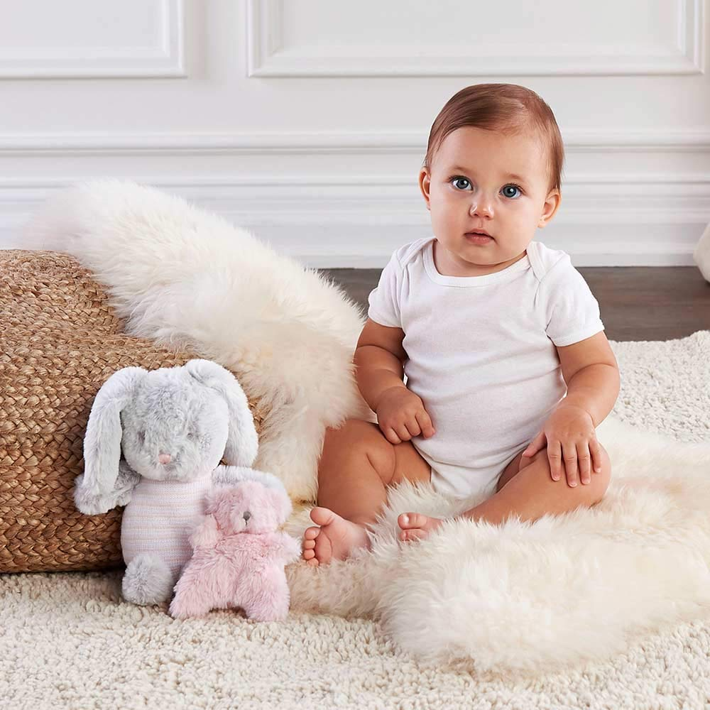 Baby Aspen Luxury Baby Bunny Plush Plus Little Buddy Bear Rattle Gift Set, Light Gray Light Pink