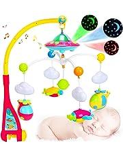 Jasonwell Movil para Cuna Bebe Mobile Music Box Holder Soporte del Brazo Tuerca Tornillo Caja móvil con luces y música función de proyector de estrellas y sonajeros de naves espaciales caja musical con 108 melodías juguete para el sueño del recién nacido